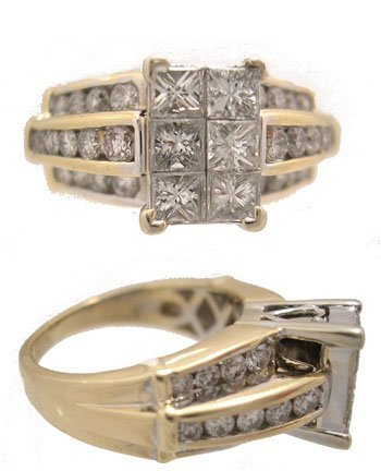 1013: 14KY 1.96ctw Diamond princess Invisibly Set Ring