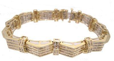 1015: 10KY 4.50cttw Diamond Bagg Mens Bridge Bracelet 4