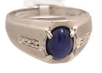 1128: 10KW Blue star sapphire mans diamond ring