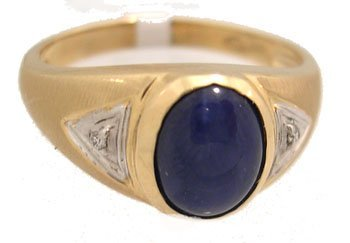 1129: 10KY 1.5ct Synthetic Blue Star Sapphire Mens Ring