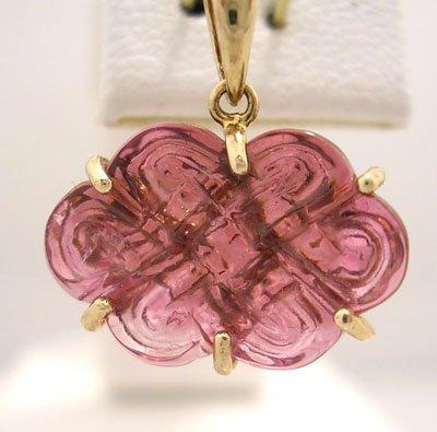 1131: 14KY 7ct PinkTourmaline Flower Pendant