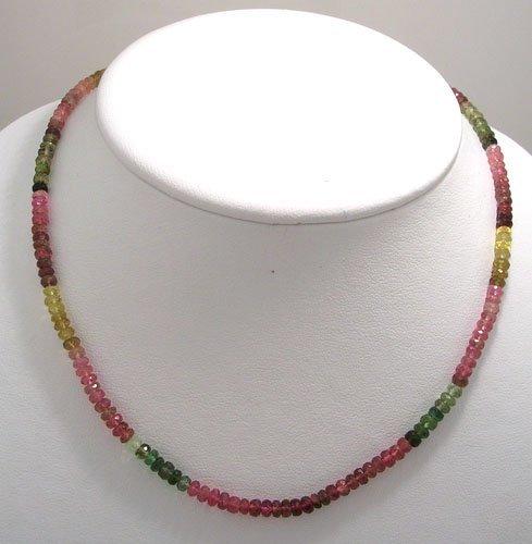 1132: 63ct Watermelon Tourmaline Beaded Necklace