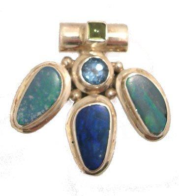 1134: SSilver Boulder Opal Blue Topaz Peridot Pendant