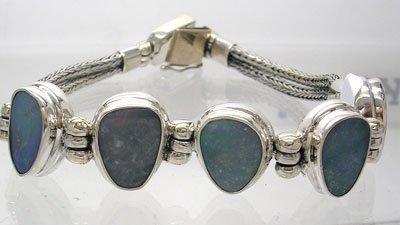 1135: SSilver Dark Blue Boulder Opal Rope Bracelet