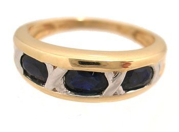 1138: 14KY .90cttw 3 Oval Blue Sapphire Ring Band