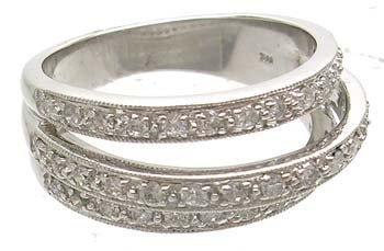 1140: 14KW .50ct Diamond Round 3-Row Antique Style Ring