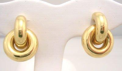 1142: 18KYItalianRoundFrench Omega Back Earrings 14.5gr