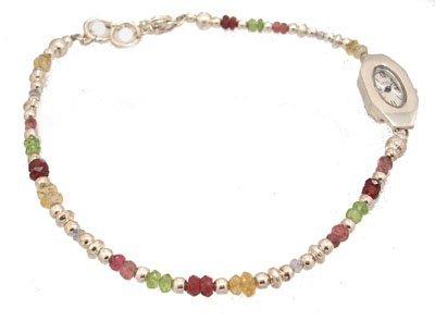 1144: SSilver Multi-Gemstone Ladies Simon Sassoo Watch