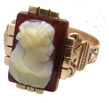 1150: 14KR Victorian Cameo Rectange Ring (1885)