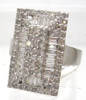 1212: 14KW HUGE 2ct Diamond Bagg Rd Rectangle Ring