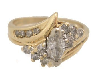 602: 14KY .52ct Diamond Marquise Round Ring