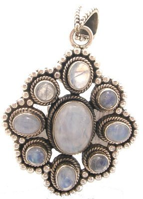604: SSilver moonstone oval and round pendant