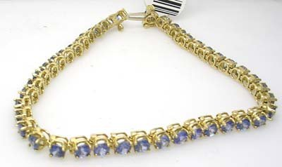 610: 14KY 6cttw Ceylon Sapphire Rd Line bracelet