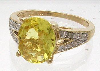 611: 14KY 2.11ct Golden Beryl .14cttw Diamond Ring
