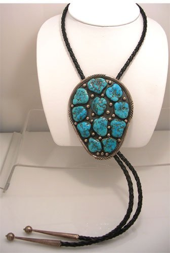 615: Turquoise and Sterling Bolo Slide