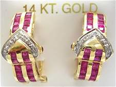 677: 14KY 1.75cttw Ruby Diamond Omega Earring