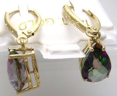 1901: 14KY 7.4ct Mystic Topaz Pear Cut Drop Earrings