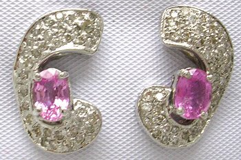 1908: 14KW 1.35ct Pink Sapphire .70ct Diamond Earrings
