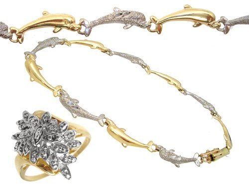 1100: 10KY Diamond ring & dolphin bracelet