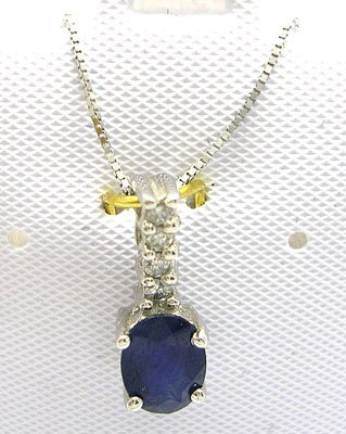 1108: PLT10KW 1ct Blue Sapphire Oval Diamond Necklace