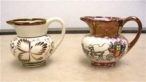 19002: 2 Pc lot Porcelain Hand Panted Pitchers / Grays
