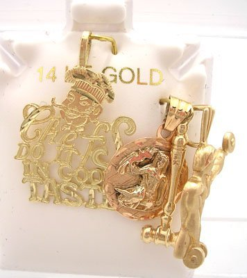 601: 14KY 4 Set of Chef Rose Lady Working Man Pendant