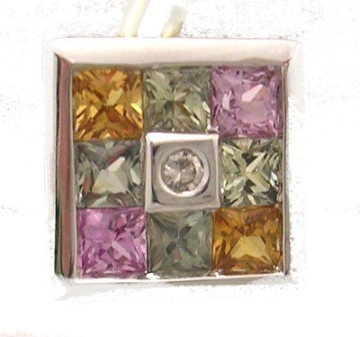 603: 14KW .89ct Multi-Sapphire Diamond Slide Pendant