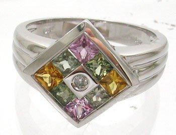604: 14KW .90ct Multi-Sapphire Diamond Ring