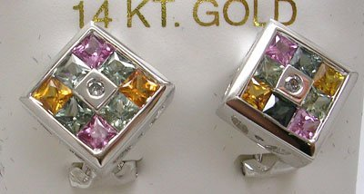 605: 14KW 1.8ct Multi-Sapphire Diamond Omega Earring