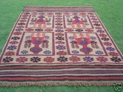 648: S.Antique Persian Gul-E-Burgista Rug 9 x 7