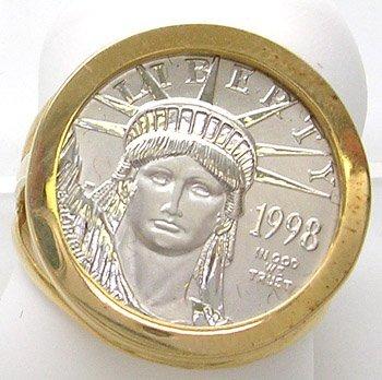 713: 14KY Platinum 1998 Liberty Coin Ring