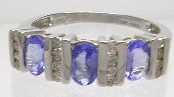 784: 14KW 1.38cttw Tanzanite 3 oval .26ct Diamond ring