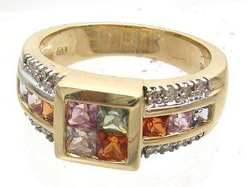 901: 14KY 1.32ct Multi-Sapphire .12ct Diamond Ring