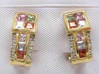 902: 14KY 2.ct Multi Sapphire .09ct Diamond Earring