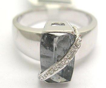 906: 14KY 2.75ct Blue Tourmaline Cushion Diamond Ring