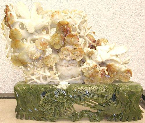 923: Nephrite Jade Carved Birds in Lotus Tree