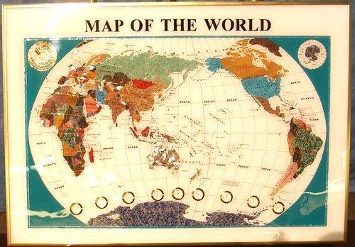 924: White Howlite Gem Stone Map with Clocks 29x20 inc