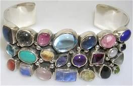951: Sterling Silver Multi Gem 3 row Cuff Bracelet