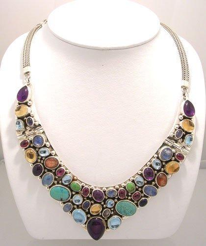 952: SSilver Multi Gem collar V necklace