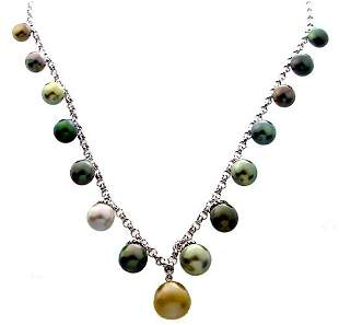 14k WG 8/11mm Tahitian 15 Pearl 18in Rolo Necklac
