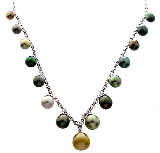 1001: 14k WG 8/11mm Tahitian 15 Pearl 18in Rolo Necklac