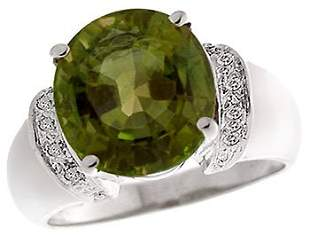14KW 6.41ct Green Tourmaline oval dia ring