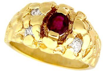 1004: 10KY .45ct Ruby Mans Nugget Diamond Ring