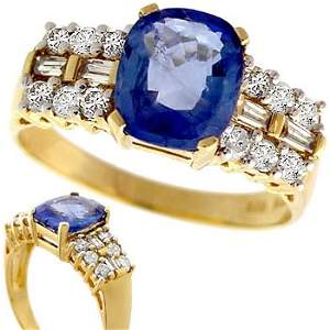 1005: 2.21ct Ceylon Sapphire .39ct dia band ring