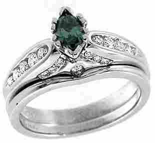 WG .27ct Blue Diamond marquise .41ct Dia ring