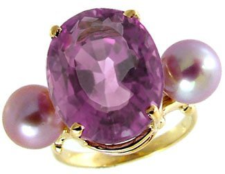 1011: 8.50CT Amethyst 6/7mm Pink Pearl ring
