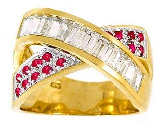 1.53cttw White Sapphire Pink Sapphire X ring