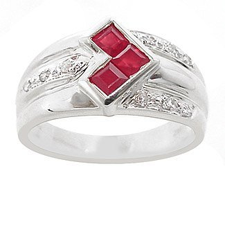 1013: WG .65ct ruby princess cut channel dia ring