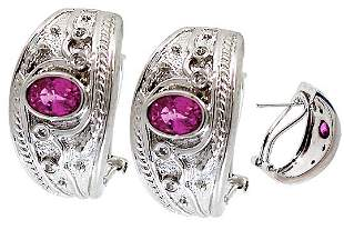WG 1.55ct Pink Sapphire dia etruscan earring