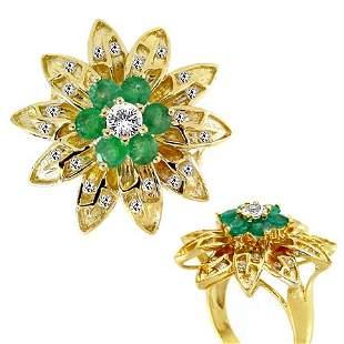 1.76ct Emerald White Sapphire flower ring